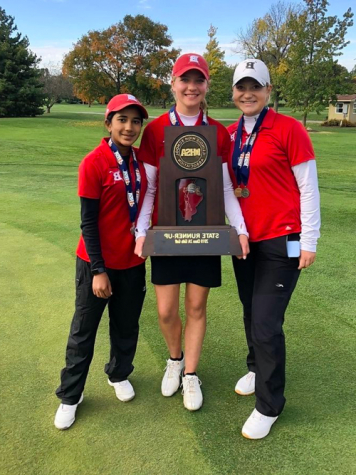 Barrington girls golfers, from left, Caroline Smith, Mara Janess and Sophia Sulkar display the Fillies' Class 2A state runner-up trophy Saturday at Hickory Point Golf Club in Decatur. Janess won the individual championship, while Smith was tied for third and Sulkar tied for fifth.